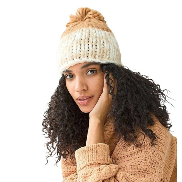 Free People Womens Brown Ivory Beanie Hat One Size
